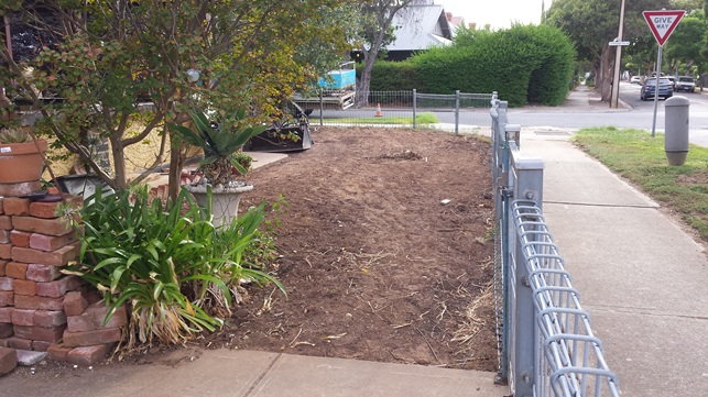 Before the installation of side garden in Allenby Adelaide
